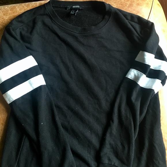 1276c1988 Forever 21 Sweaters   Blackandwhite Varsity Stripe Crewneck ...